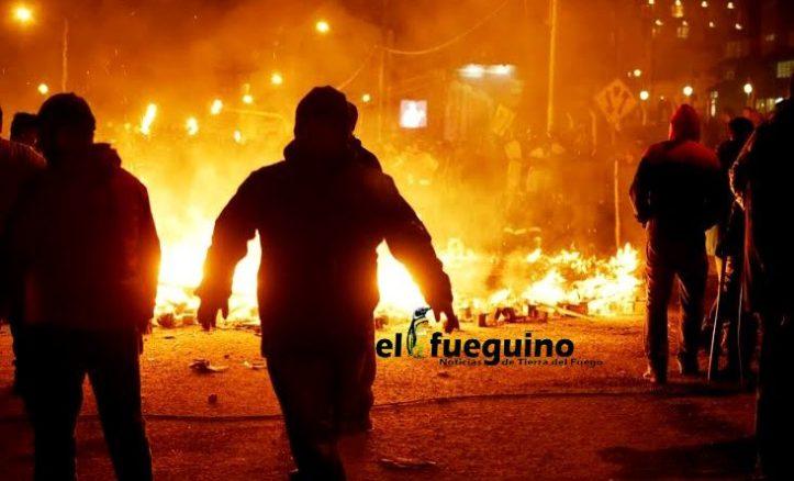 Foto de los incidentes según el periódico local El Fueguino